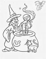 Halloween Coloring Witches Witch Evil Dibujos Brujas sketch template