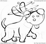 Dog Drunk Cartoon Stupid Clipart Coloring Outlined Vector Cory Thoman Regarding Notes sketch template