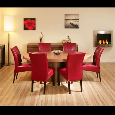 large oval walnut dining table   high  red