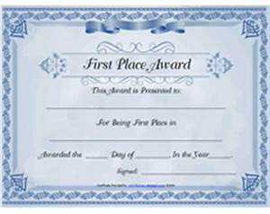 first prize certificate template - free printable 1st first place award certificate templates