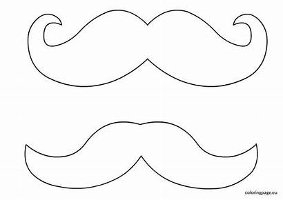 Mustache Coloring Clipart Template Beard Outline Pages