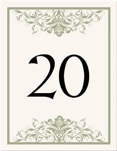 Free Wedding Table Number Templates For Word - table ...