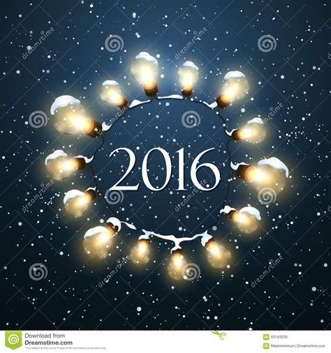 happy new 2016 year christmas lights stock vector
