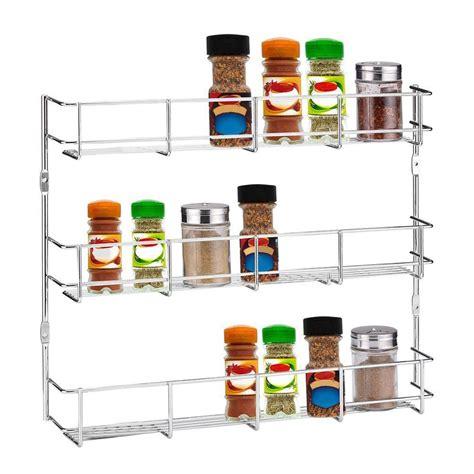 3 Tiers Kitchen Spice Rack Cabinet Wall Mount Storage