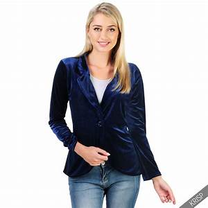 Womens Ladies Tailored Smart Fitted Party Velvet Blazer ...