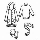 Coloring Hiver Saison Nature Coat Boots Preschool Worksheets Coloriage Kindergarten Pants Mittens Hat Coloriages Toddler Crafts sketch template