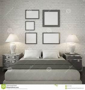 Mur Brique Blanc : raillez vers le haut des cadres d 39 affiche au mur de briques blanc de la chambre coucher ~ Mglfilm.com Idées de Décoration