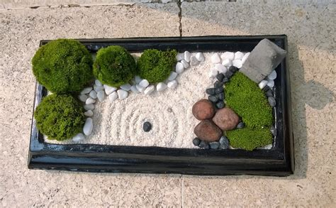 Mini Zen Garden With Nature Moss Ball, White Sand, Black