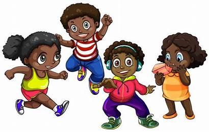 African American Boys Vector Illustration Cartoon Walking