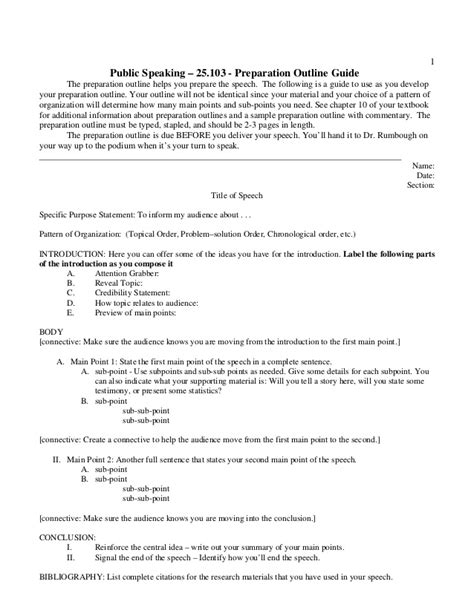 Tspeech Test Template by Preparation Outline Handout 2014 Public Speaking
