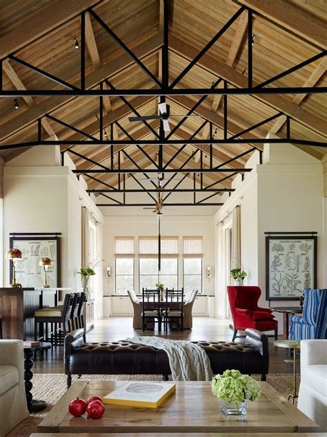 open truss ceiling living room transitional  tufted