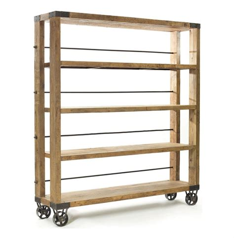 industrial bookcase on wheels modern rustic reclaimed wood rolling bookcase kathy kuo home