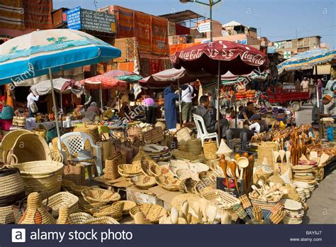 The Busy Market Square In The Souks Marrakech Morocco