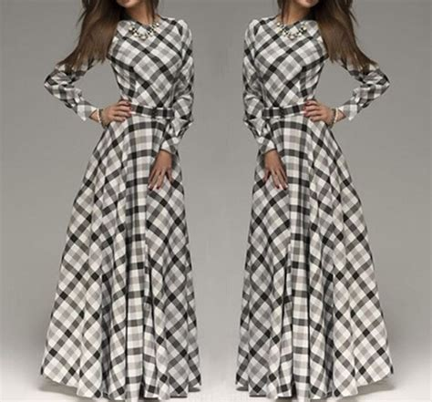 White Black Plaid Print Pleated Belt High Waisted Long
