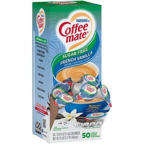 Calorie content has been reduced from 35 to 15 calories per serving. Coffee-Mate SUGAR FREE French Vanilla Liq Creamer 50ct ...