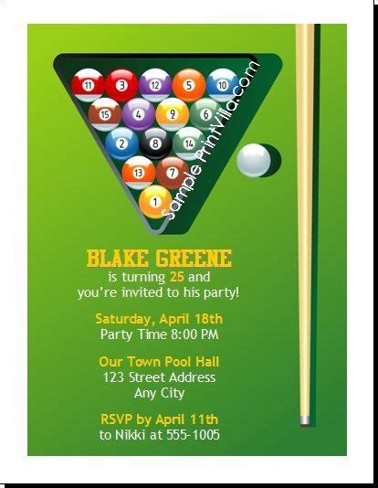 billiards party invitations google search kids party