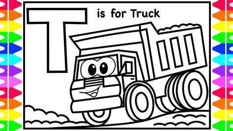 abc coloring    truck dump truck coloring pages kids learn colors  children