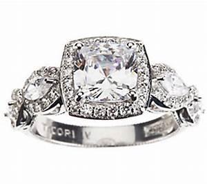 tacori iv diamonique epiphany halo cushion cut ring qvccom With tacori wedding rings qvc