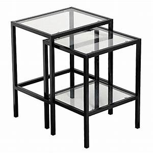 Yaheetech set of 2pcs glass nesting tables living room for Black nesting tables living room furniture