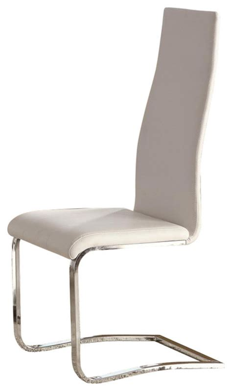 white faux leather dining chairs with chrome legs by