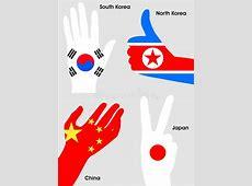 Da Banderas Nacionales De China, Japón, Corea Del Norte