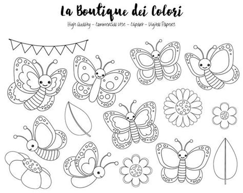 Pastel Butterfly Digital Stamps Clipart, Cute Png, Spring