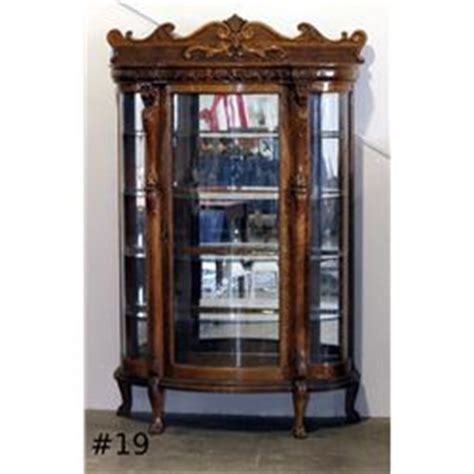 curved glass curio cabinet value antique curio china cabinet curved glass