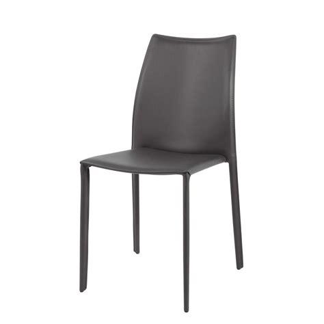 chaise cuir et bois chaise en cuir recyclé et bois grise klint maisons du monde