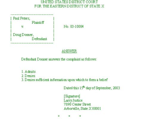 lawsuit answer template answer to civil summons template templates resume exles rrawbnwy74