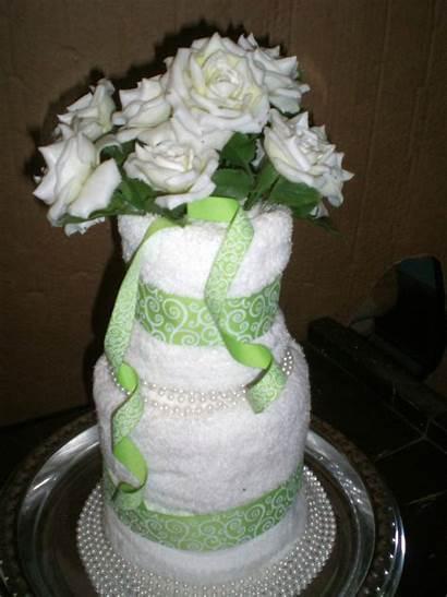 Centerpiece Bridal Shower Gift Towel Cake Ribbon