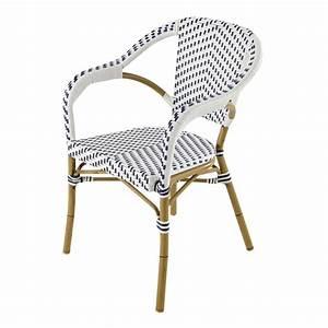 Fauteuil En Resine : fauteuil de jardin en r sine tress e blanc bleu kafe maisons du monde ~ Teatrodelosmanantiales.com Idées de Décoration
