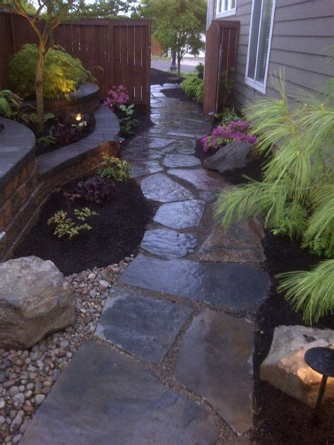 walkway along the side of a house front yard landscaping