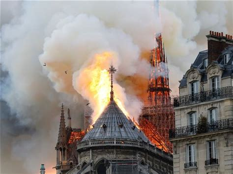 famed notre dame cathedral  paris   fire