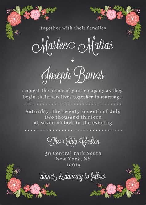 spanish rose chalkboard wedding invitation suite  diy
