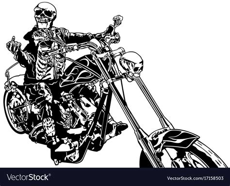 Skeleton Rider On Chopper Royalty Free Vector Image