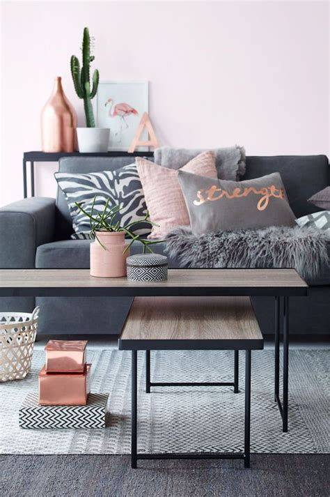 Class Family Home With Blue Pink And Gold Decor by Color Trend Copper And Pink Living Room Ideas Living