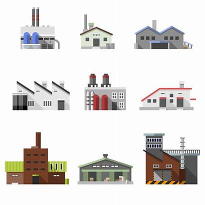 Industrial Buildings Flat Vector Factory Industry Manufacturing