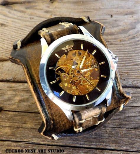 steampunk  leather wrist  leather