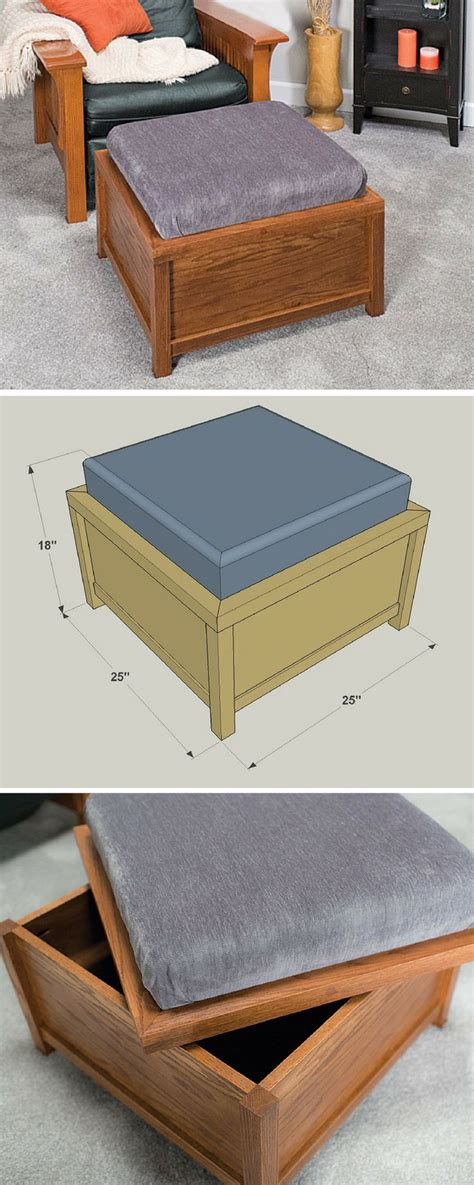 build  diy storage ottoman  printable project plans include   steps tools