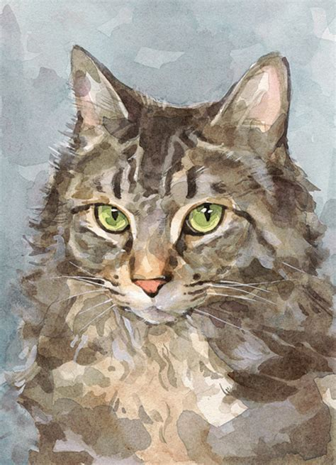 Custom Cat Portrait Watercolor Painting 5x7 David