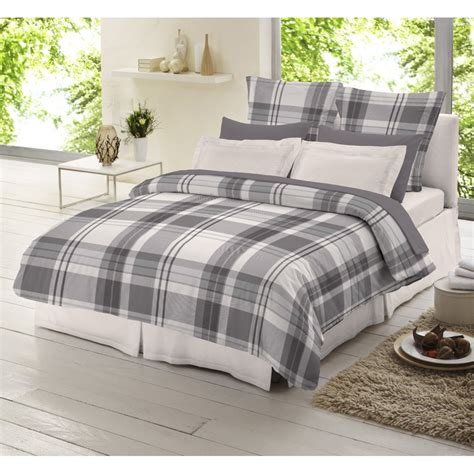 grey duvet cover dormisette grey check tartan 100 brushed cotton duvet
