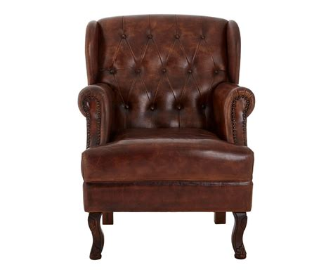 Tyaly Upholstered Buttoned Brown Leather Armchair