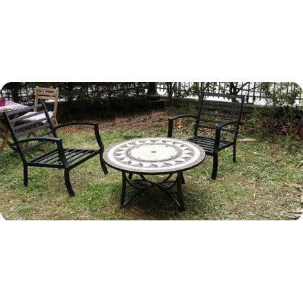 Salon De Jardin Table Et Chaises Salon De Jardin Table Basse Ronde 4 Chaises Filae Aspect Fer Forg 233 Et Mosa 239 Que Noir Beige