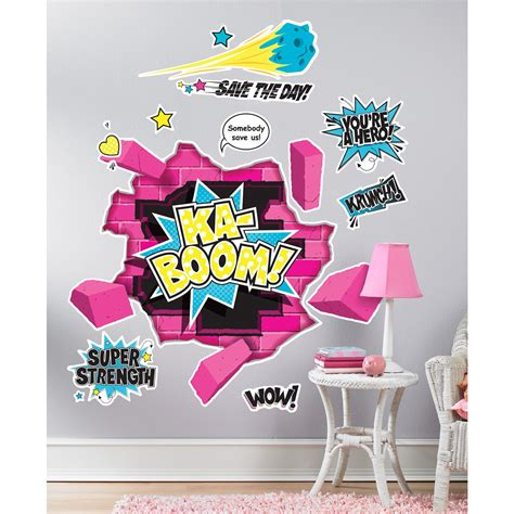 superhero girl giant wall decals birthdayexpress com