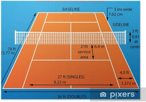 Tennis courts are nowadays spread all over the world. Tennis court with dimensions(clay) Poster • Pixers® - We ...