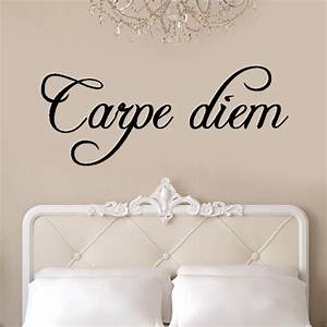Carpe diem wall stickers kitchen decoration mural wall say for Kitchen colors with white cabinets with carpe diem wall art