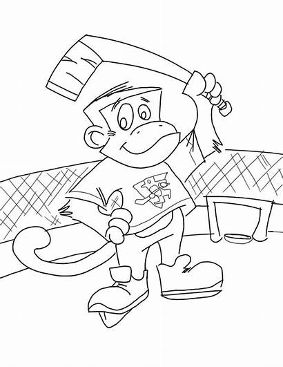 Coloring Monkey Pages Printable Hockey Stuff Playing
