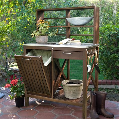 outdoor potting bench belham living winfield acacia wood potting bench potting