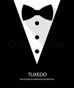 Black and white bow tie tuxedo illustration flat long ...