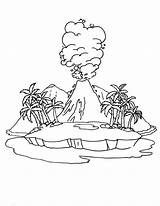 Volcano Active Coloring Drawing Island Pages Diagram Getdrawings sketch template